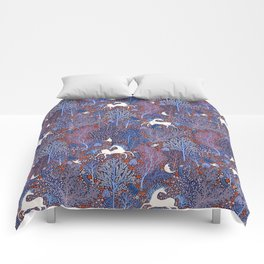 Unicorns in a nocturnal Forest Comforters