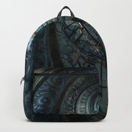Decorated spiral staircase in blue tones Backpack