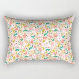 Dinosaurs + Unicorns in Pink + Teal Rectangular Pillow
