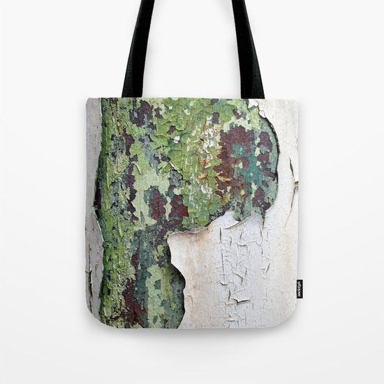white green paint rust metal texture pattern Tote Bag