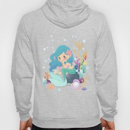 Cute Mermaid pink and blue Hoody