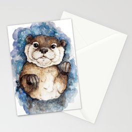 Watercolor Otter Stationery Cards