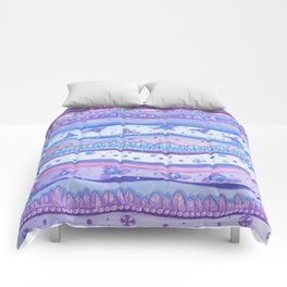 Pink And Blue Stripes Rose Quartz And Serenity Forest Comforters