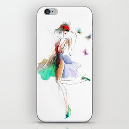 the girl with butterflies iPhone Skin