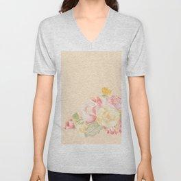 Spring Flowers Peach Unisex V-Neck