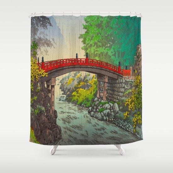 Vintage Japanese Woodblock Print Garden Red Bridge River Rapids Beautiful Green Forest Landscape by tokugawa