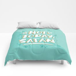 Not Today, Satan – Mint & Gold Palette Comforters