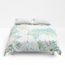 Mint and green floral world map with cities Comforters
