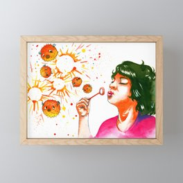 fugu bubbles Framed Mini Art Print