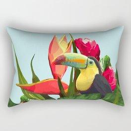 Toucan Tropical Banana Leaves Bouquet Rectangular Pillow