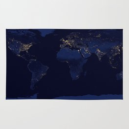 Earth from space blue and gold space night sky photograph Rug