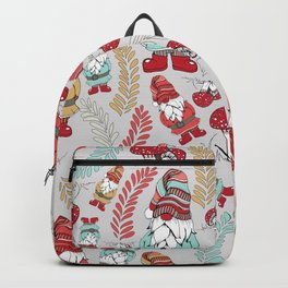 Winter Gnomes in Light Gray Backpack