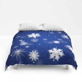 Winter / Christmas Blue and White Snowflakes Comforters