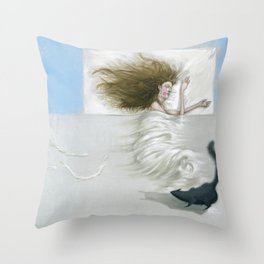 Sleeping woman and cat Throw Pillow