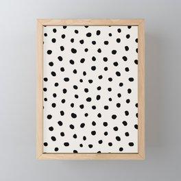 Modern Polka Dots Black on Light Gray Framed Mini Art Print