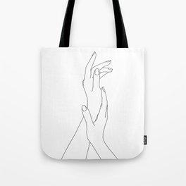 Hands line drawing illustration - Dia Tote Bag