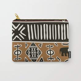 African mud cloth with elephants Carry-All Pouch