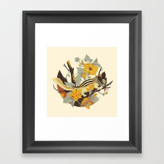 Chipmunk & Morning Glory Framed Art Print