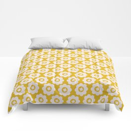 Canary Yellow Retro Floral Comforters