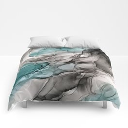 Smoky Grays and Green Abstract Flow Comforters