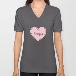 I Love Bongos Simple Heart Design Unisex V-Neck