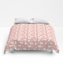 White Cats on Rose Gold Pattern Comforters