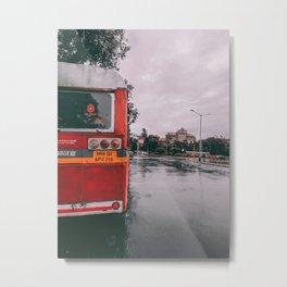 Bus in the CIty Metal Print