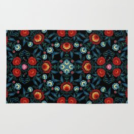 Flowers in Red and Blue Rug