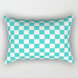 Small Checkered - White and Turquoise Rectangular Pillow