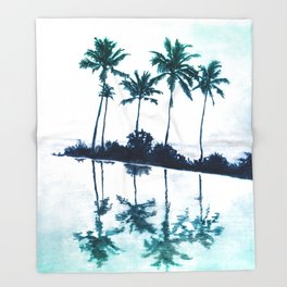 Palm Tree Reflections Teal Throw Blanket