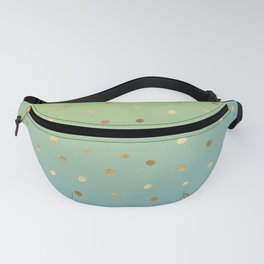 Electric Blue Green Gold Ombre Dots Fanny Pack