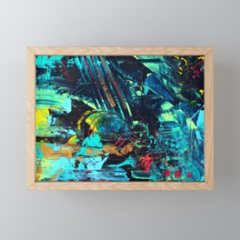 Undaunted B - Abstract in Black and Turquoise Framed Mini Art Print