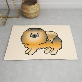 Orange Sable Pomeranian Dog Cute Cartoon Illustration Rug