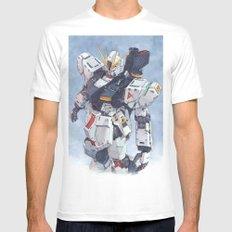 Nu Gundam watercolor White MEDIUM Mens Fitted Tee