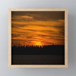 Cloudy Sunset With Forest Line - Scenic Landscape - #society6 #decor #buyart Framed Mini Art Print