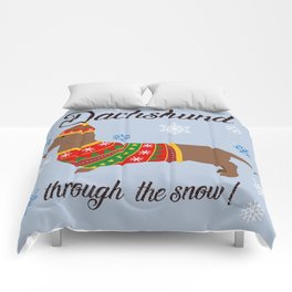 Dachshund through the snow - christmas jumper Comforters