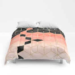 Black And Coral Cubes Comforters