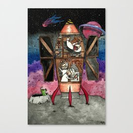 Bunnies and mole visit far-away planets Canvas Print