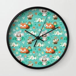 Sleeping Woodland Friends / Cute Animals Wall Clock