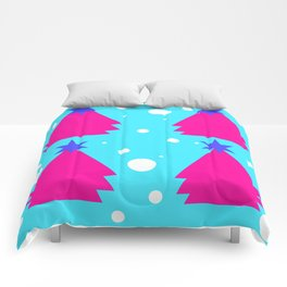 Pink Christmas tree on turquoise background Comforters