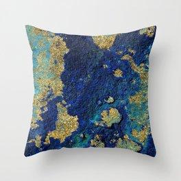 Indigo Teal and Gold Ocean Throw Pillow