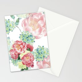 Peony and Hydrangea Pattern Stationery Cards