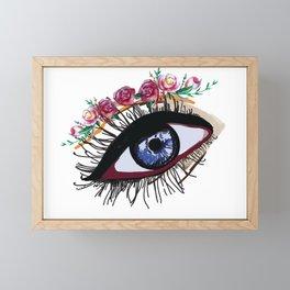 Blue eye & flowers Framed Mini Art Print