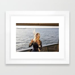 The Ferry, Windy Framed Art Print
