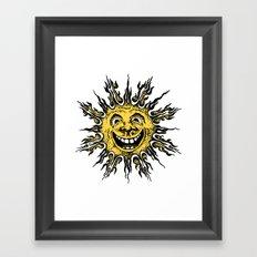 sun face - original yellow Framed Art Print