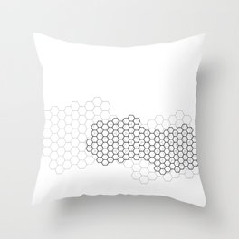 Black and grey cellular overlapping grids Throw Pillow