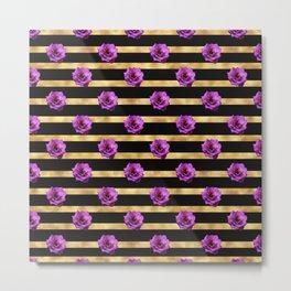 Floral Royal Glitter Stripes Metal Print