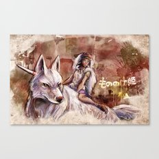 Miyazaki's Mononoke Hime - San and the Wolf TraDigital Painting Canvas Print