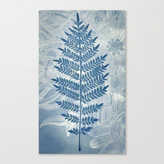Jacaranda Leaf in Blue, Cream, Grey Canvas Print