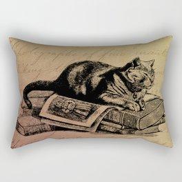Vintage Cat Collage-Grunge Background Rectangular Pillow